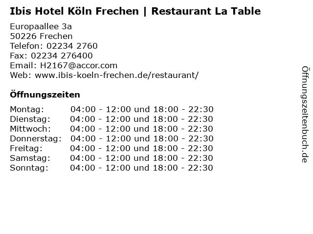 Ibis Hotel Köln Frechen | Restaurant La Table in Frechen: Adresse und Öffnungszeiten