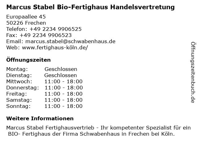 Marcus Stabel Bio-Fertighaus Handelsvertretung in Frechen: Adresse und Öffnungszeiten