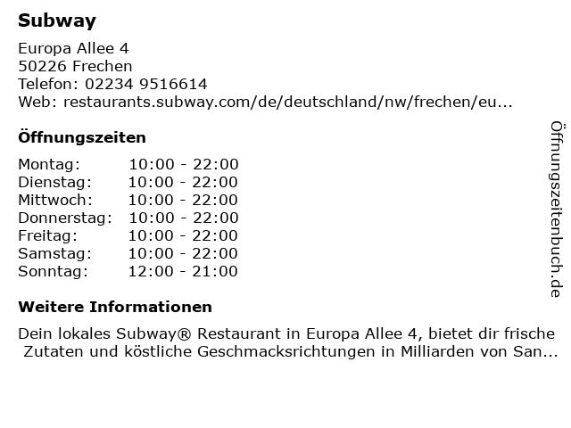 Subway in Frechen: Adresse und Öffnungszeiten