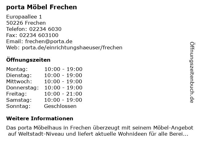 ᐅ öffnungszeiten Porta Möbel Europaallee 1 In Frechen