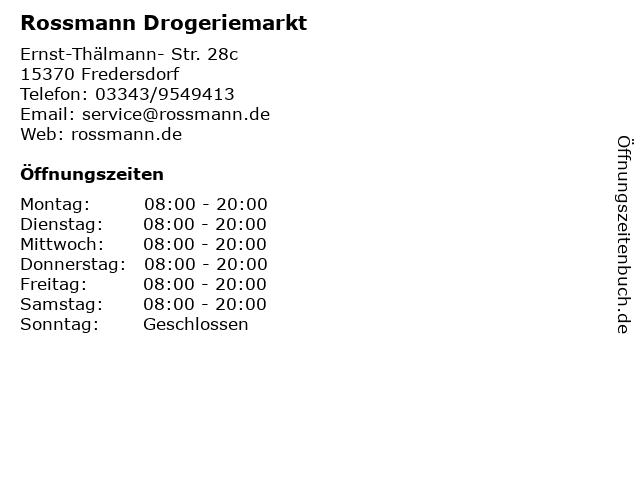 Rossmann Drogeriemarkt in Fredersdorf: Adresse und Öffnungszeiten