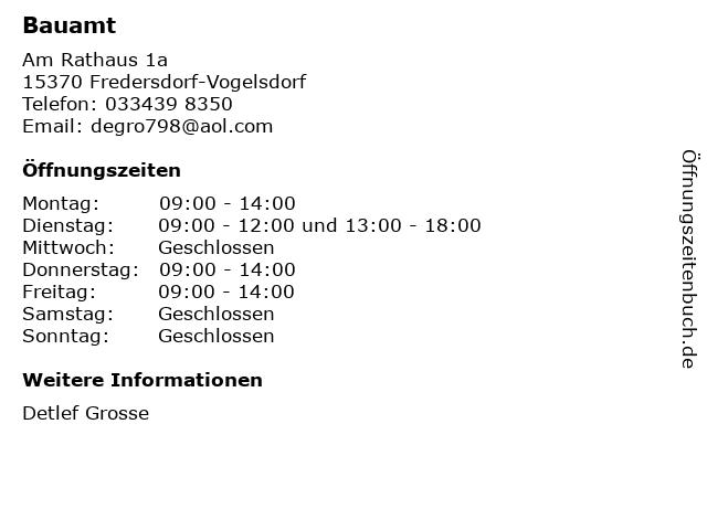 Bauamt in Fredersdorf-Vogelsdorf: Adresse und Öffnungszeiten
