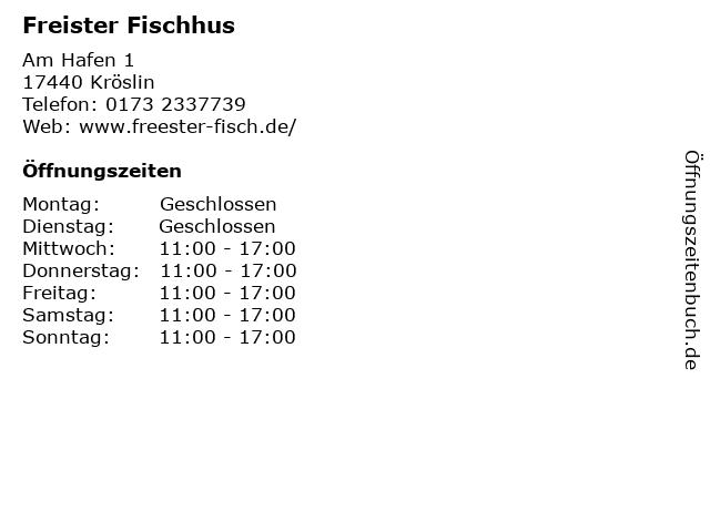 Freister Fischhus (Nebensaison) in Freest: Adresse und Öffnungszeiten