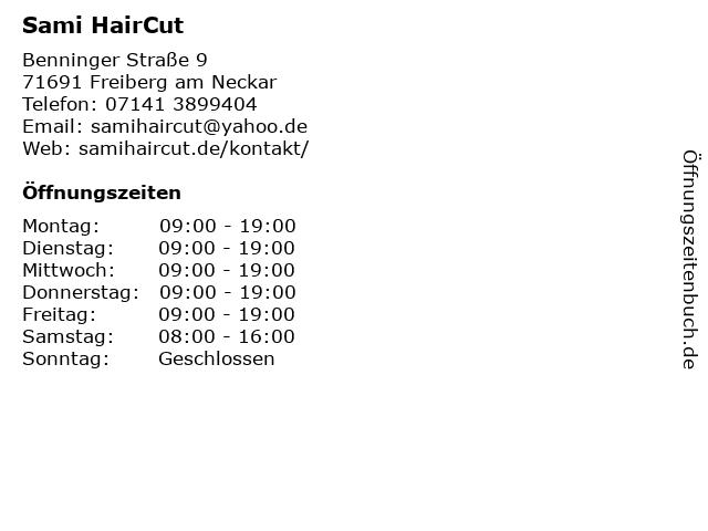 Sami HairCut in Freiberg am Neckar: Adresse und Öffnungszeiten