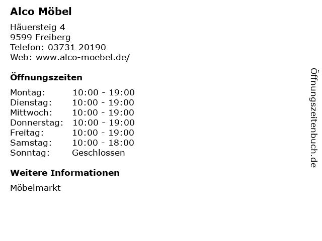 ᐅ Offnungszeiten Alco Mobel Hauersteig 4 In Freiberg