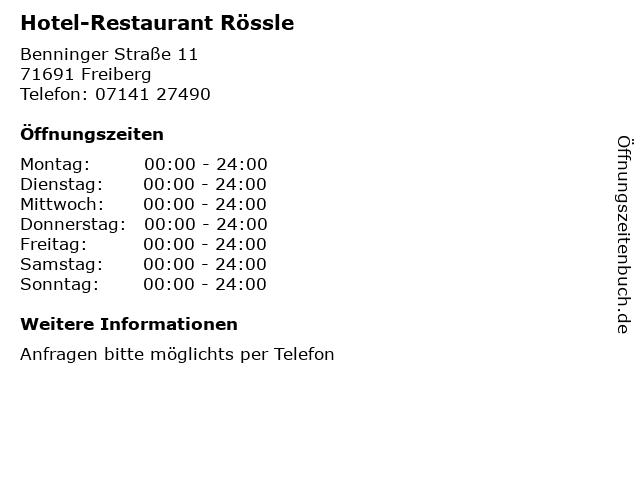 Hotel-Restaurant Rössle in Freiberg: Adresse und Öffnungszeiten