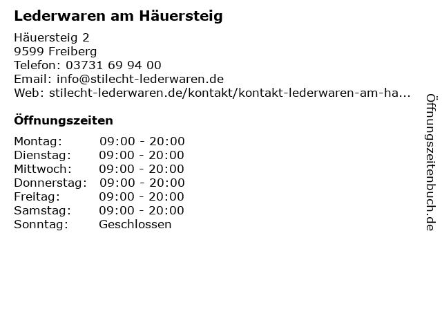 Lederwaren am Häuersteig in Freiberg: Adresse und Öffnungszeiten