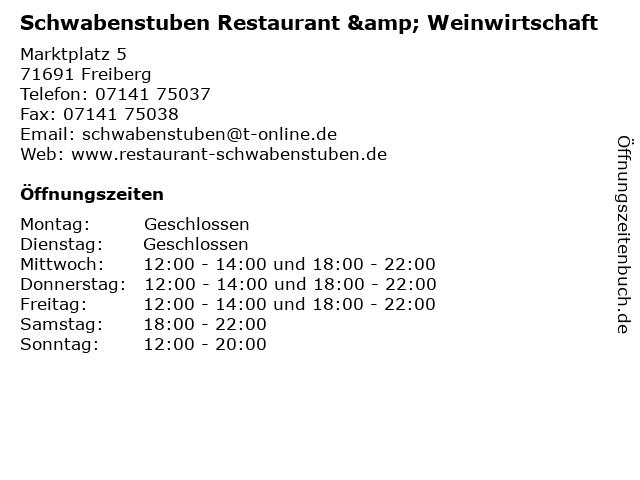 Schwabenstuben Restaurant & Weinwirtschaft in Freiberg: Adresse und Öffnungszeiten