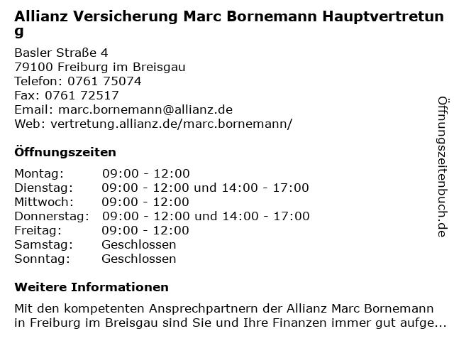 Allianz Versicherung- Marc Bornemann Hauptvertretung in Freiburg Im Breisgau: Adresse und Öffnungszeiten