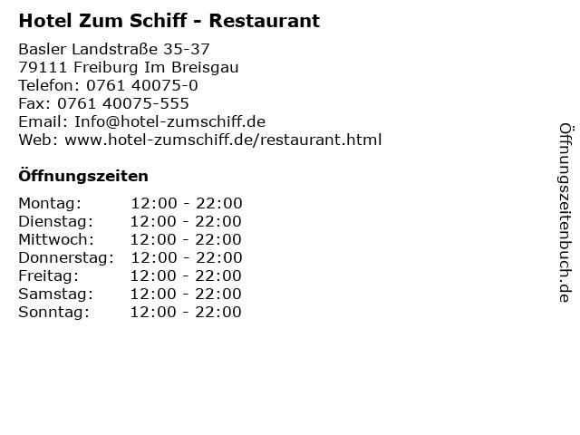 Hotel Zum Schiff - Restaurant in Freiburg Im Breisgau: Adresse und Öffnungszeiten
