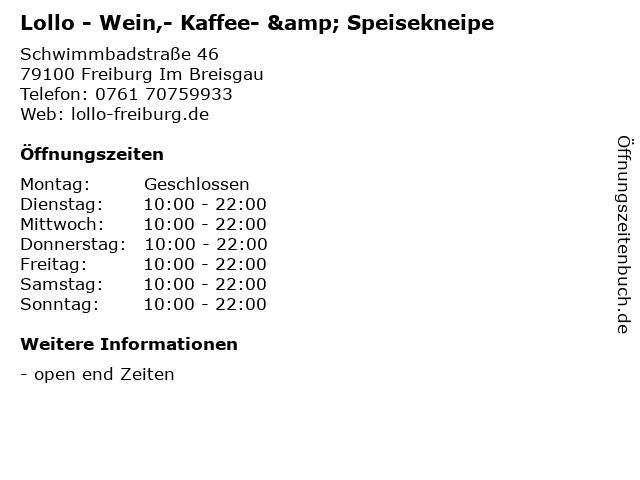 Lollo - Wein,- Kaffee- & Speisekneipe in Freiburg Im Breisgau: Adresse und Öffnungszeiten