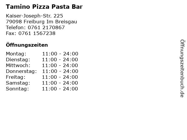 Tamino Pizza Pasta Bar in Freiburg Im Breisgau: Adresse und Öffnungszeiten