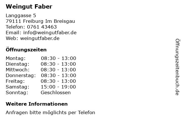 Weingut Faber in Freiburg Im Breisgau: Adresse und Öffnungszeiten