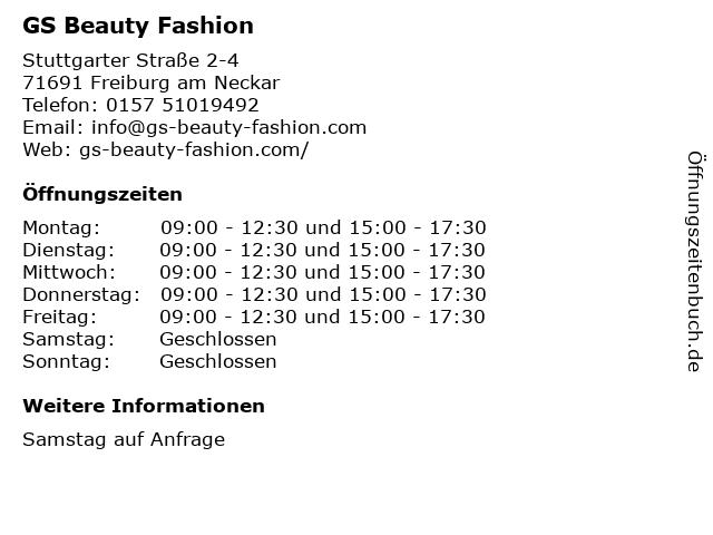 GS Beauty Fashion in Freiburg am Neckar: Adresse und Öffnungszeiten