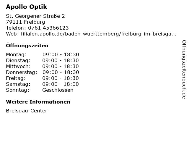 Apollo-Optik Holding GmbH & Co. KG in Freiburg im Breisgau: Adresse und Öffnungszeiten