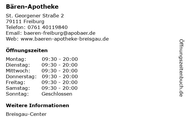 Bären-Apotheke im Breisgau-Center in Freiburg im Breisgau: Adresse und Öffnungszeiten