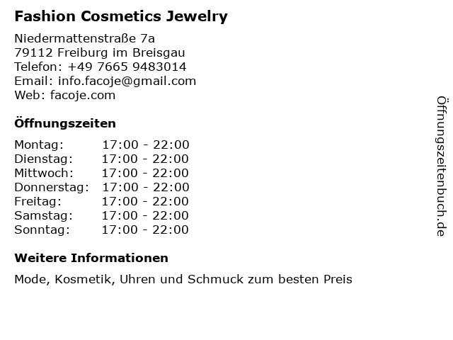 facoje.com - FASHION COSMETICS JEWELRY in Freiburg: Adresse und Öffnungszeiten