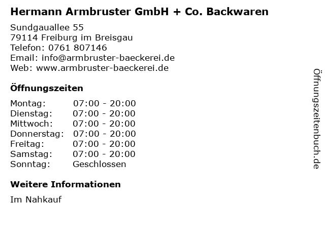 ᐅ öffnungszeiten Hermann Armbruster Gmbh Co Backwaren