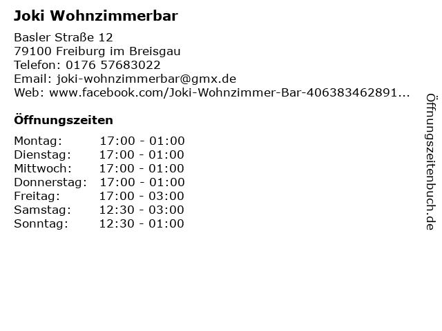 ᐅ öffnungszeiten Joki Wohnzimmerbar Basler Straße 12 In