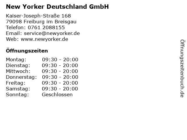 New Yorker Deutschland GmbH in Freiburg im Breisgau: Adresse und Öffnungszeiten