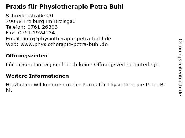Praxis für Physiotherapie Petra Buhl in Freiburg im Breisgau: Adresse und Öffnungszeiten