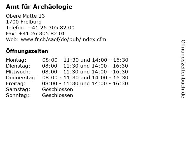 Amt für Archäologie in Freiburg: Adresse und Öffnungszeiten