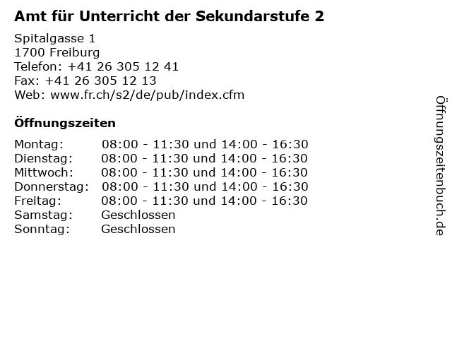 Amt für Unterricht der Sekundarstufe 2 in Freiburg: Adresse und Öffnungszeiten