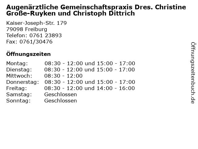 Augenärztliche Gemeinschaftspraxis Dres. Christine Große-Ruyken und Christoph Dittrich in Freiburg: Adresse und Öffnungszeiten