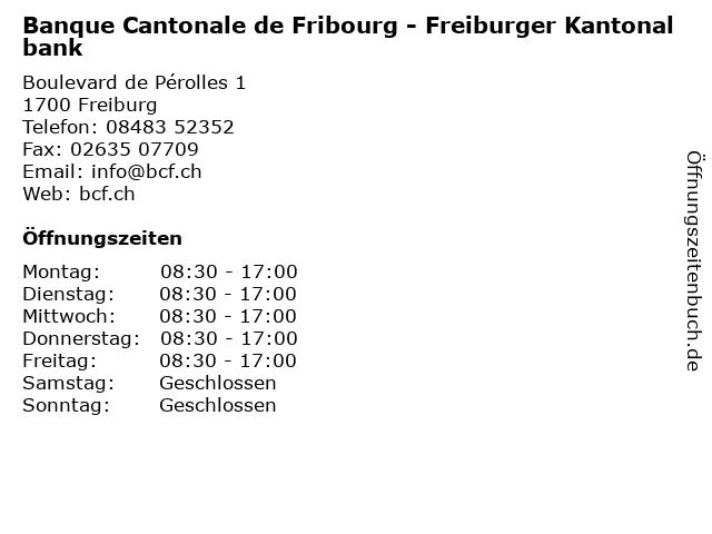Banque Cantonale de Fribourg - Freiburger Kantonalbank in Freiburg: Adresse und Öffnungszeiten