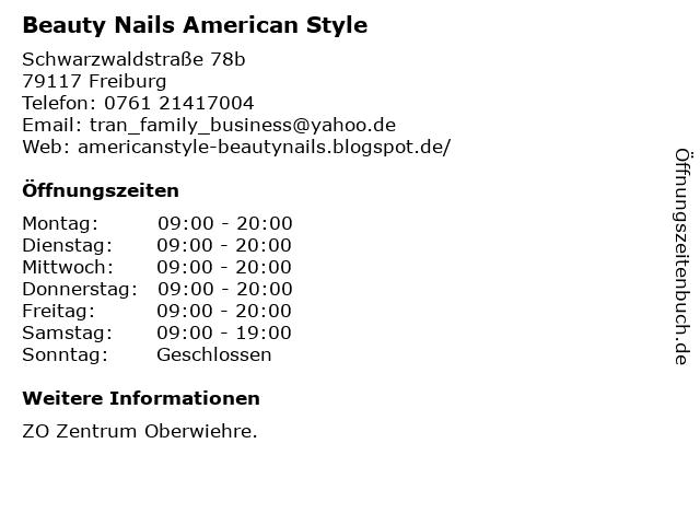Beauty Nails American Style in Freiburg: Adresse und Öffnungszeiten