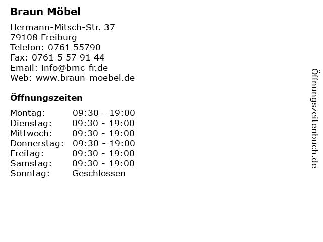 ᐅ öffnungszeiten Braun Möbel Hermann Mitsch Str 37 In Freiburg