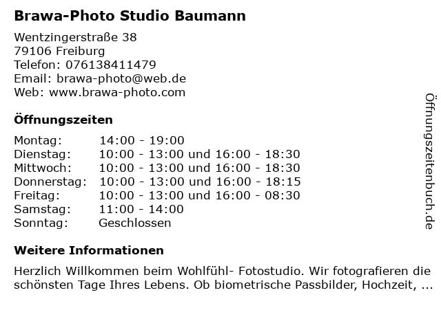 Brawa-Photo Studio Baumann in Freiburg: Adresse und Öffnungszeiten