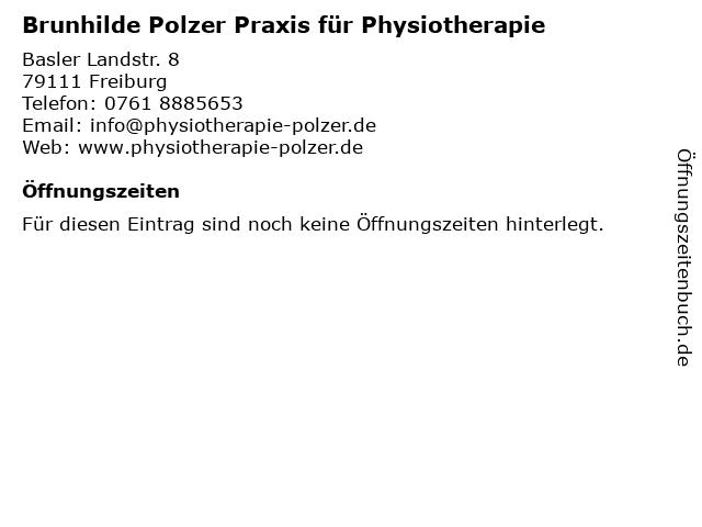 Brunhilde Polzer Praxis für Physiotherapie in Freiburg: Adresse und Öffnungszeiten