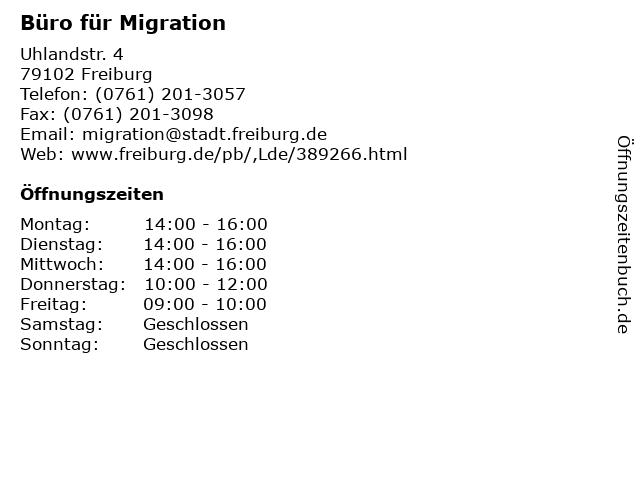 Büro für Migration in Freiburg: Adresse und Öffnungszeiten