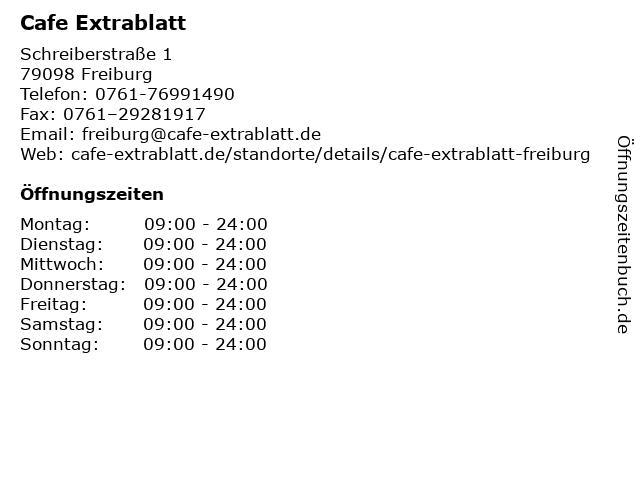Cafe Extrablatt in Freiburg: Adresse und Öffnungszeiten