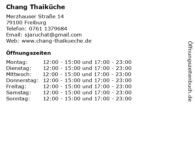 Chang Thaiküche in Freiburg: Adresse und Öffnungszeiten
