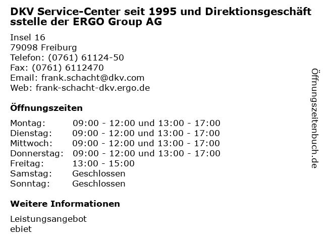 DKV Service-Center seit 1995 und Direktionsgeschäftsstelle der ERGO Group AG in Freiburg: Adresse und Öffnungszeiten