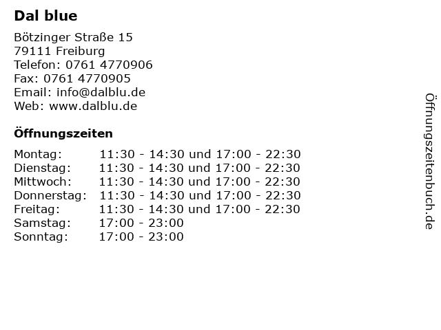 Dal blue in Freiburg: Adresse und Öffnungszeiten