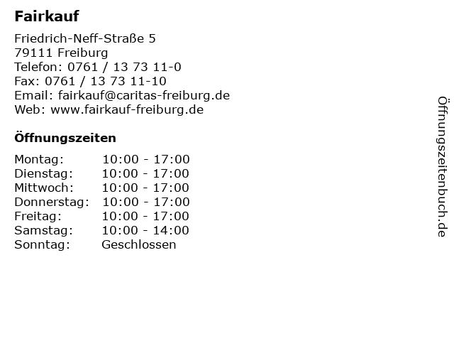 ᐅ öffnungszeiten Fairkauf Friedrich Neff Straße 5 In Freiburg