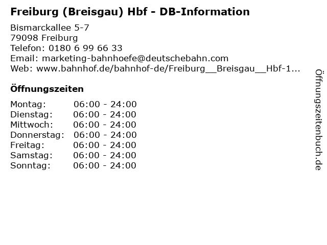 Freiburg (Breisgau) Hbf - DB-Information in Freiburg: Adresse und Öffnungszeiten