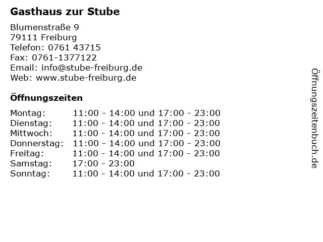 Gasthaus zur Stube in Freiburg: Adresse und Öffnungszeiten