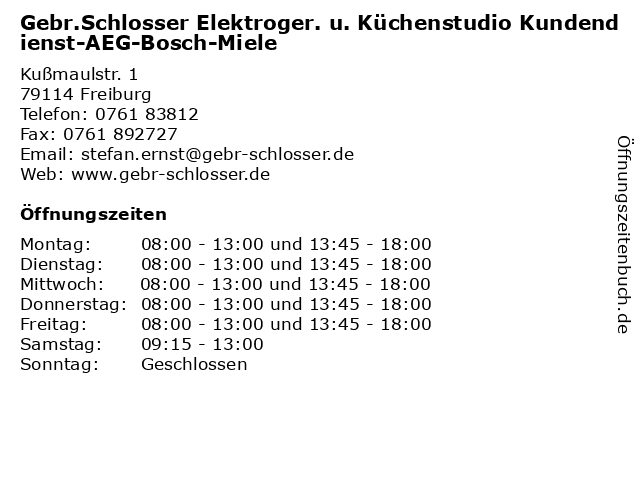ᐅ Offnungszeiten Gebr Schlosser Elektroger U Kuchenstudio