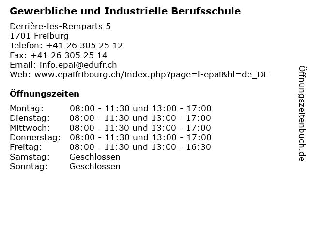 Gewerbliche und Industrielle Berufsschule in Freiburg: Adresse und Öffnungszeiten