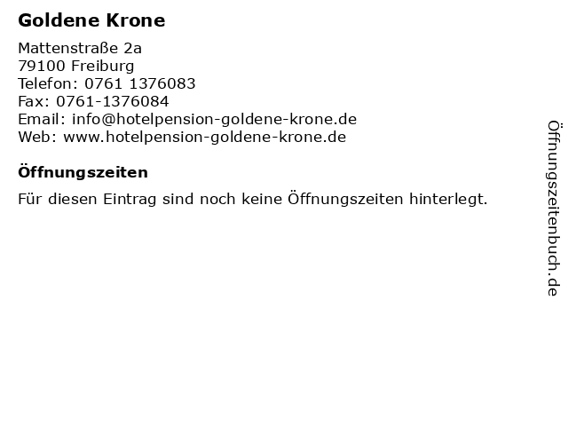 Goldene Krone in Freiburg: Adresse und Öffnungszeiten