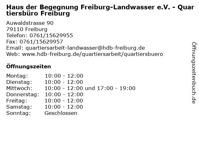 Haus der Begegnung Freiburg-Landwasser e.V. - Quartiersbüro Freiburg in Freiburg: Adresse und Öffnungszeiten