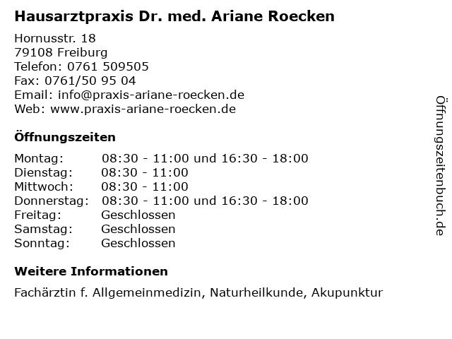 """05993f0f03ec ᐅ Öffnungszeiten """"Hausarztpraxis Dr. med. Ariane Roecken ..."""