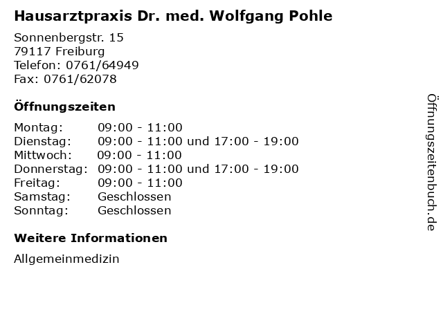 "85ff7c8de10b ᐅ Öffnungszeiten ""Hausarztpraxis Dr. med. Wolfgang Pohle ..."
