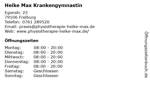 Heike Max Krankengymnastin in Freiburg: Adresse und Öffnungszeiten
