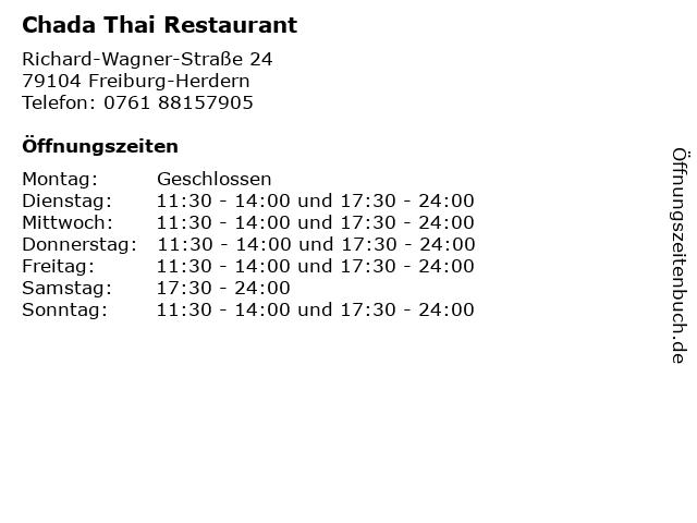 Chada Thai Restaurant in Freiburg-Herdern: Adresse und Öffnungszeiten