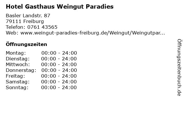 Hotel Gasthaus Weingut Paradies in Freiburg: Adresse und Öffnungszeiten